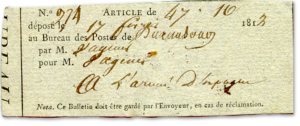 Postbescheinigung eines Briefes den die Mutter Pierre Wageners an ihren Sohn nach Spanien schickte. 17.02.1812.